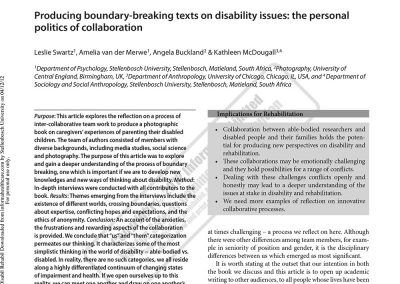 Producing boundary-breaking texts on disability issues: the personal politics of collaboration